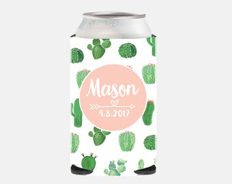 Cactus Wedding Favors Cactus Wedding Party Favors Pink Bridesmaid Gift Ideas Cactus Can Cooler Bachelorette Party Gifts Pink and Green QZ