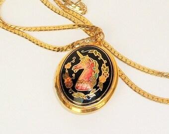 Vintage Locket, Unicorn Necklace, Locket Necklace,Locket Jewelry, 2 sided cloisonne, Fantasy jewelry, long necklace,photo locket