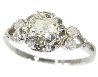 ON SALE Vintage diamond engagement ring 0.86ct old brilliant cut diamond 18 karat white gold 1920s wedding ring