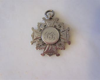 Sterling Silver Engraved British Medal Award Fob Charm Pendant Fully Hallmarked