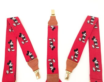 Mens Suspenders - Mickey Mouse Suspenders for Men - Clip Suspenders - Button Suspenders - Walt Disney Boys Suspenders - Leather Suspenders