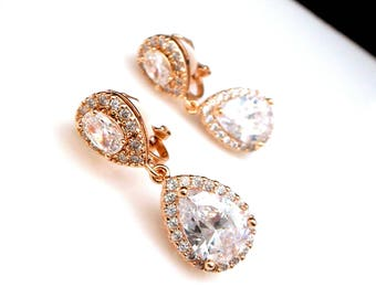 CLIP-ONS wedding bridal jewelry bridesmaid prom gift party pageant Clear white teardrop cubic zirconia teardrop cz rose gold post earrings