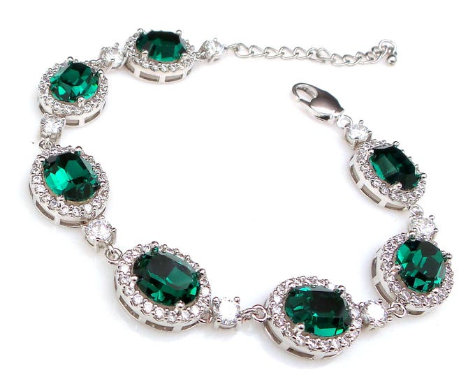 bridesmaid jewelry bracelet bridal wedding bracelet christmas party gift swarovski rhinestone oval emerald green cubic zirconia bracelet