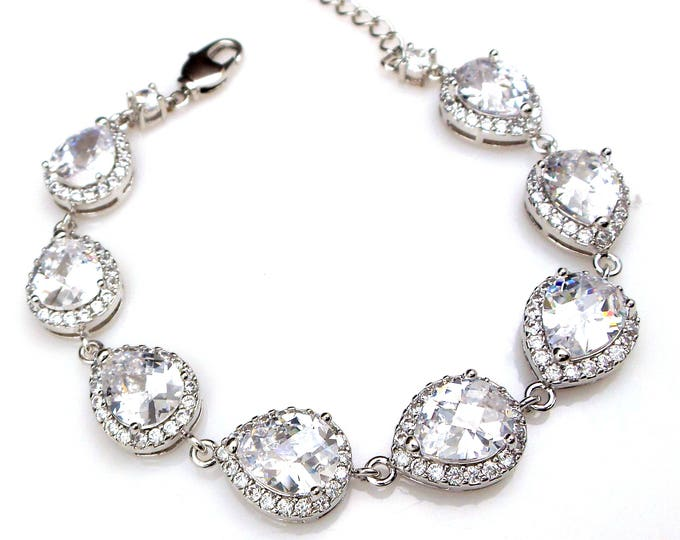 bridal bracelet wedding jewelry bridesmaid gift prom party pageant rhodium silver plated clear cubic zirconia halo teardrop pear bracelet