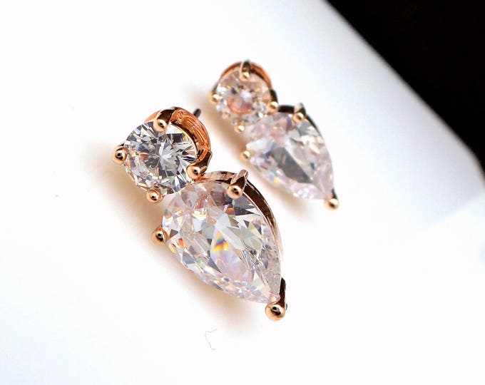wedding bridal stud rose gold earrings bridesmaid jewelry gift prom party christmas teardrop AAA clear white cubic zirconia stud post