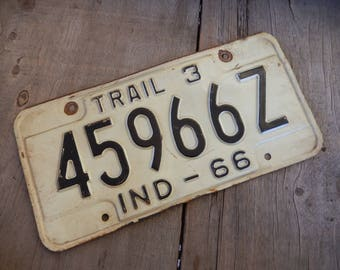 Vintage License Plate Indiana 1966 Metal Rustic Old Sign Man Cave Garage Bar Pub Cafe Decor