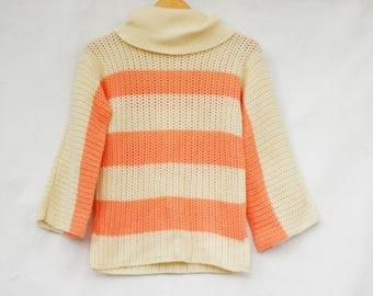 Vintage 70s Striped Turtle Neck Sweater/Boho/Retro/Hippie
