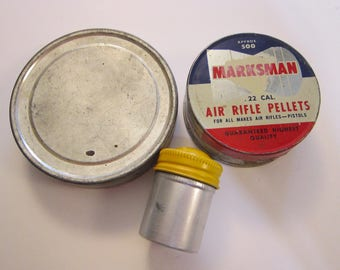 3 vintage tins - film tin, Marksman Air Rifle Pellets tin - empty tins - industrial storage