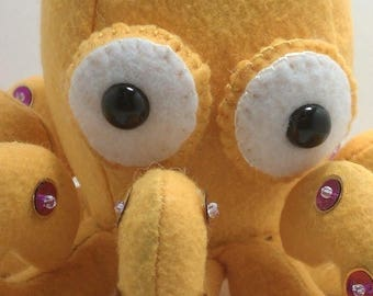 ON SALE Octopus plush- golden yellow with purple or Silver with gold suckers