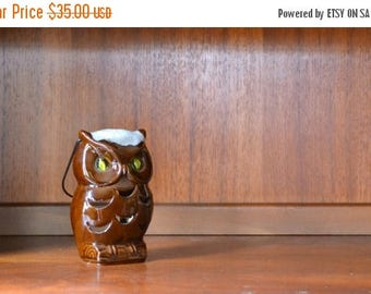 CIJ SALE 25% OFF vintage brown ceramic owl lantern