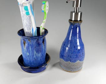 Pottery toothbrush holder, ceramic soap dispenser, stoneware liquid soap pump, ceramic lotion dispenser, toothbrush holder with holes