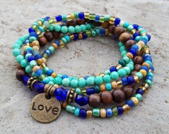 Boho Hippie - Cobalt Blue and Teal Beaded Stretch Stack Bracelets with Rustic Gold double sided Love charm