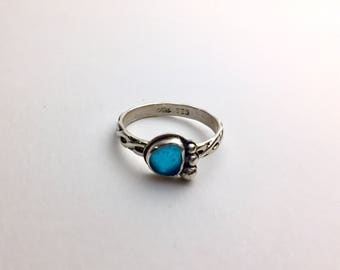 Aqua Beach Glass Sterling Silver Ring