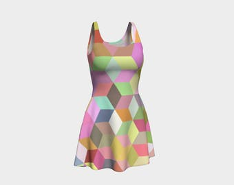 Pastel Cube Skater Dress | Size XS S M L XL | Bold Design Pattern | Party Dancing Ice Roller Skating | Short Fitted Sleeveless Mini Dress