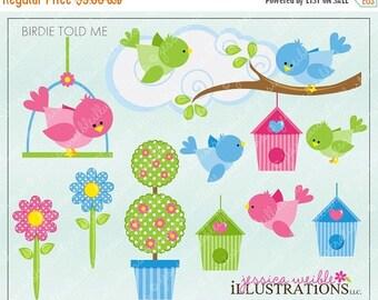 SALE Birdie Told Me Cute Digital Clipart for Card Design, Scrapbooking, and Web Design