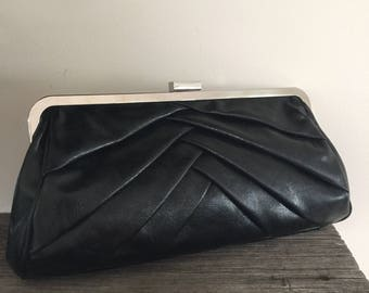 Vintage 80s black clutch party glam kardashian purse handbag evening 1980s