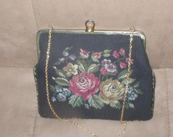 Vintage 1940's Needlepoint Petit-Point Tapestry Evening Purse