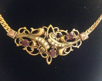 1950s/1960s Necklace, Statement Vintage Necklace, Rockabilly, Old Jewelry, Purple Stone Diamonte Necklace, Gold Coloured Metal