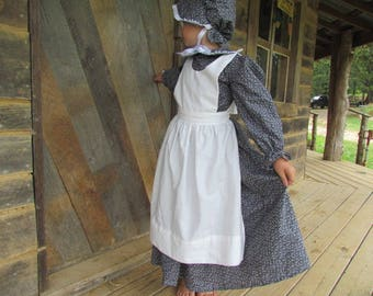 Williamsburg Historical Clothing Boutique Handmade Period Girl Costume -Black Calico Pioneer- Child sizes up to 14