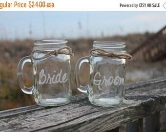 March Winds sale 2 Mason Jars Mugs, Bride and Groom Mason Jar Mugs, Toasting Glasses, Engraved Mason Jar Mugs, Couple Wedding Gift,  Couples