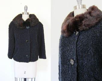 1950s vintage curly lamb black faux persian lamb mink fur collar  coat jacket L