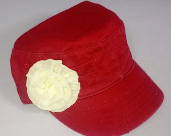 Raspberry red army hat with large cream flower