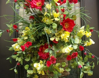 Summer Door Wreath, Spring Wreath, Poppy Wall Floral Arrangement, Red and Yellow Wall Basket, Summer Wreath, Summer Wall Pocket