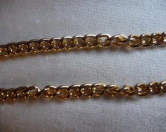Chain, anodized aluminum, gold, 5mm curb. Sold per pack of 5 feet.