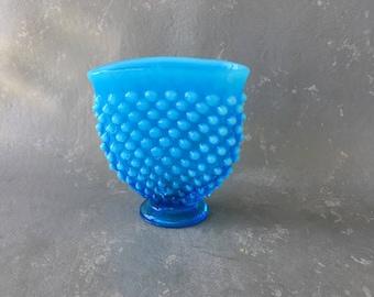 Vintage Aqua hobnail opalescent vase, blue, fenton, fan vase, small, bud vase