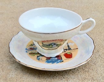 Vintage Washington Cup and Saucer Souvenir China