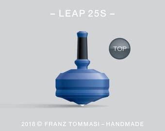 LEAP 25S Blue – Precision handmade spin top with ceramic tip and integrated rubber grip