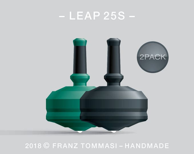 LEAP 25S 2PACK Green-Black – Value-priced set of precision handmade spin tops with ceramic tip and integrated rubber grip