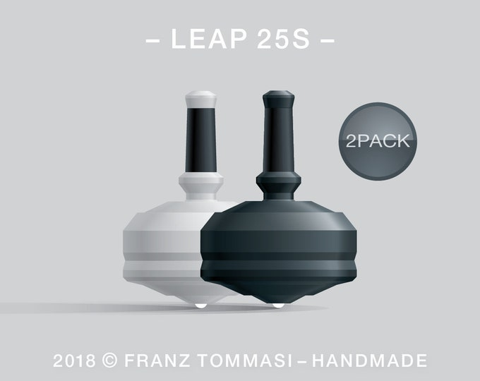 Leap 25S-2Pack (White-Black) – Value-priced set of spin tops with ceramic tip and rubber grip