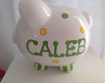 Personalized Large Piggy Bank Yellow /Green Polka Dots - Newborns ,Boys, Girls, Baby Shower Gift Centerpieces