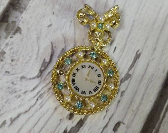 Vintage Lapel Watch Pin - Rhinestone Pocket Watch Pin - Clock Brooch - Pearl Rhinestone Clock - Timepiece Pin - Ladies Watch Pin - 1960s