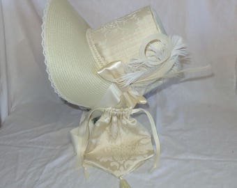 Ivory Stovepipe Bonnet and Reticule- Regency, Georgian, Jane Austen Era Bonnet and Purse