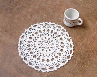 Cottage Chic White Lace Crochet Doily, French CountryTable Decor, Dining Tabletop Decoration, Tea Time, New Gift for Woman, 8 Inch Doily