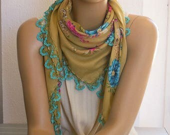 mustard scarf with turquoise crochet trim, turkish oya scarf