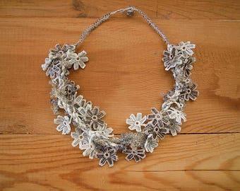 silver grey crocheted necklace, turkish crochet, oya, flower necklace