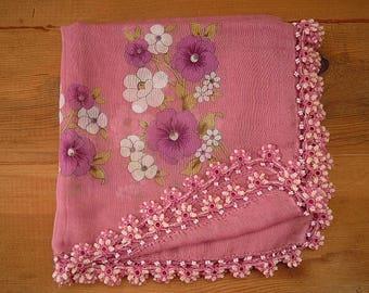 pink cotton scarf with crochet trim, turkish oya scarf