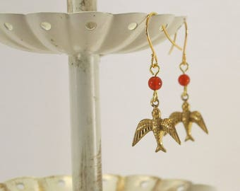 Victorian-Style Bird and Carnelian Earrings, Gold-Plated Earwires, Civil War Appropriate