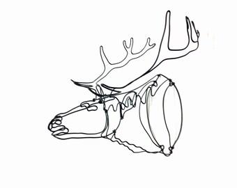 Elk Wire Sculpture, Elk Art, Elk Head Sculpture, Minimal Sculpture, 565062992