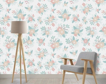 Removable Wallpaper - Floral Design, Repositionable, Removable, Woven Wallpaper, Peach, Salmon, Coral, Mint, Peel and Stick, Easily Removed