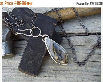 ON SALE Sterling silver necklace with a graveyard plume agate