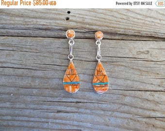 ON SALE Beautiful orange spiney oyster earrings handmade in sterling silver 925 with Lab opal