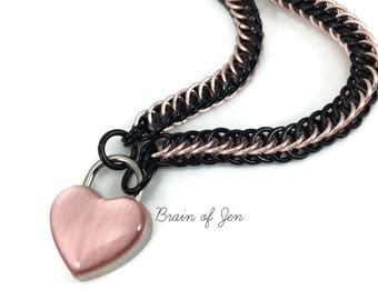 Custom Black and Rose Gold Collar RESERVED