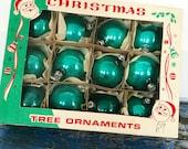 Vintage Christmas Ornament Box, Vintage Teal Green Ornament, Vintage Poland Ornaments, Vintage Mercury Glass Round Ornament