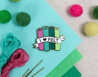 I Heart Felt // lapel pins for crafters, enamel pin, needle minder, felt, flair, magnet back, craft accessory, craft flair, felt supplies