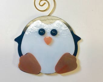 Penguin Sitting Fused Glass Ornament