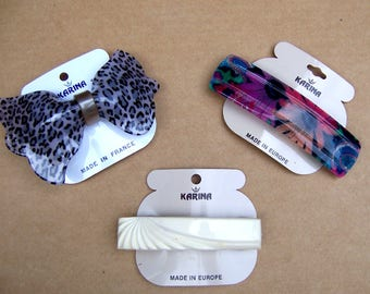 3 vintage Karina big and bold hair barrette celluloid hair accessory hair clip hair slide hair ornament (ACM)